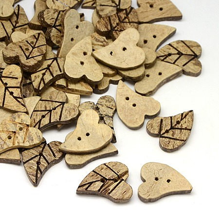 Carving Leaf Coconut Brown Coconut Buttons 2 Holes Sewing Buttons ScrapbookingBUTT-O001-02-1