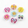 2-Hole Flower Pattern Printed Wooden ButtonsX-BUTT-R033-021-1
