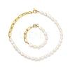 Natural Baroque Pearl Keshi Pearl Bracelets & Necklaces SetsSJEW-JS01105-1