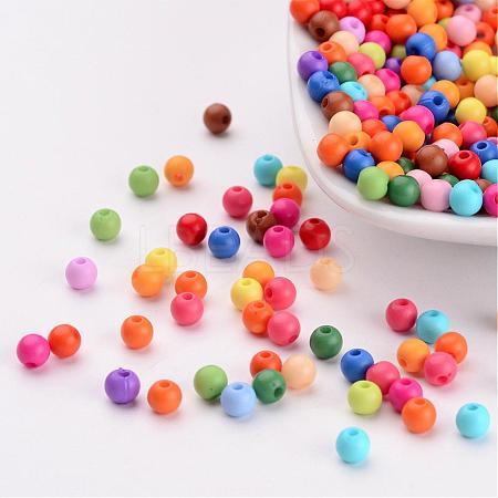 Solid Chunky Acrylic Ball BeadsX-SACR-R812-4mm-M-1