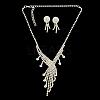 Fashionable Wedding Rhinestone Necklace and Stud Earring Jewelry SetsSJEW-R046-10-3