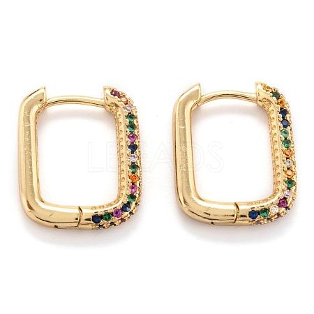 Brass Micro Pave Cubic Zirconia Huggie Hoop EarringsEJEW-P187-O01-1