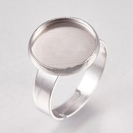304 Stainless Steel Pad Ring SettingsSTAS-G173-19P-12mm-1