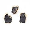 Edge Plated Natural Black Tourmaline Adjustable Finger RingsRJEW-E166-02-1