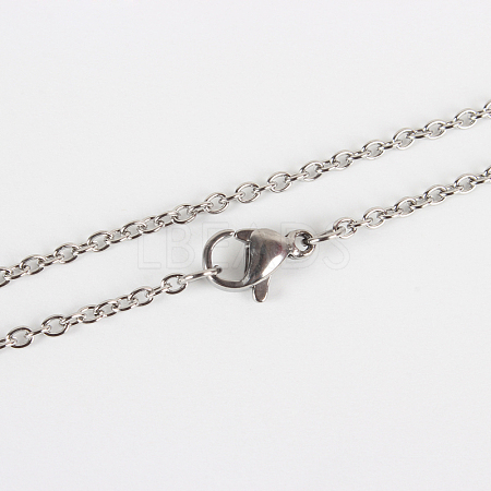 Classic Plain 304 Stainless Steel Mens Womens Cable Chain Necklace MakingSTAS-P045-01P-1