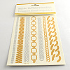Cool Body Art Removable Mixed Chain Shapes Fake Temporary Tattoos Metallic Paper StickersAJEW-Q081-22-1