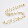 Brass Textured Paperclip Chain Necklace Making MAK-S072-02A-G-2