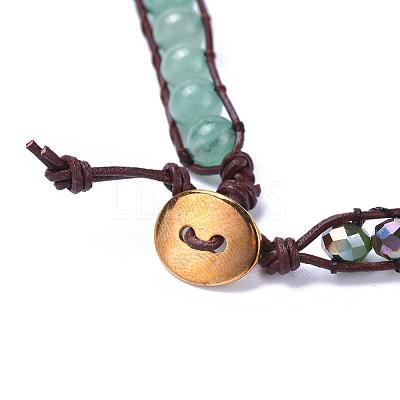 Three Loops Natural Green Aventurine Beads Wrap BraceletsBJEW-JB04247-03-1