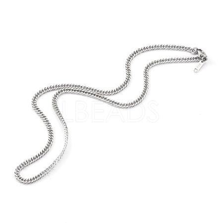 304 Stainless Steel Diamond Cut Cuban Link Chain NecklacesNJEW-JN03368-01-1