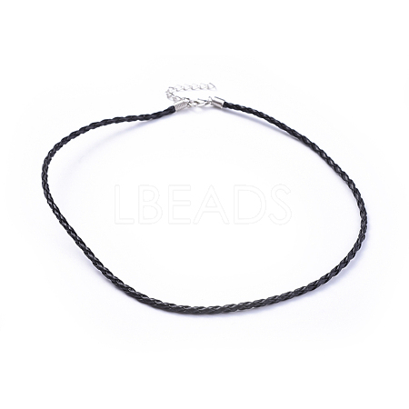 Trendy Braided Imitation Leather Necklace MakingX-NJEW-S105-017-1