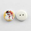 2-Hole Christmas Snowman Printed Wooden ButtonsX-BUTT-R032-057-2