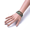 Three Loops Natural Green Aventurine Beads Wrap BraceletsBJEW-JB04247-03-5