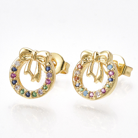 Brass Micro Pave Cubic Zirconia(Random Mixed Color) Ear StudsEJEW-S201-93-1