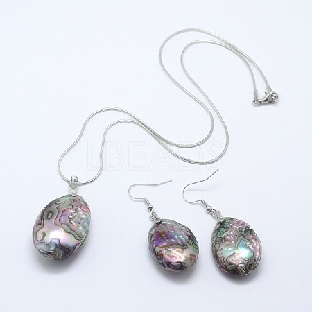 Abalone Shell/Paua Shell Jewelry SetsSJEW-E032-02-1