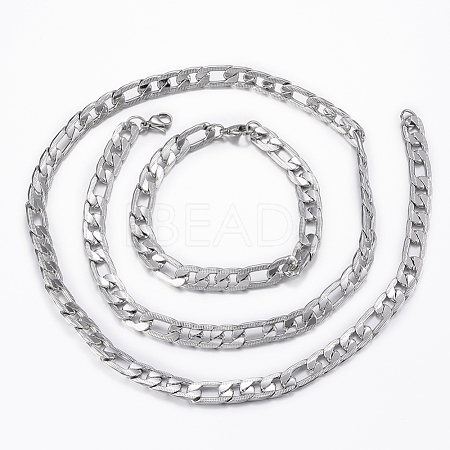 Trendy Men's 304 Stainless Steel Figaro Chain Necklaces and Bracelets Jewelry Sets SJEW-L186-03P-1
