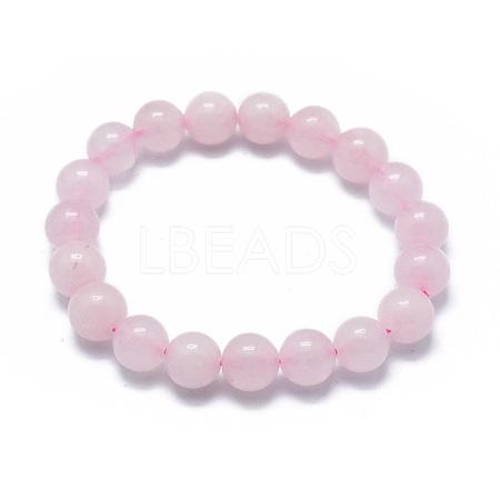 Natural Rose Quartz Bead Stretch BraceletsBJEW-K212-A-045-1