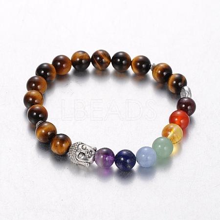Stretch Buddhist Jewelry Multi-Color Gemstone Chakra BraceletsX-BJEW-JB01687-01-1