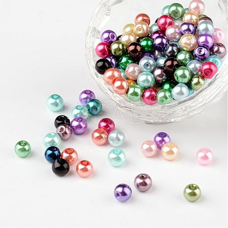 Mixed Pearlized Glass Pearl Round Beads X-HYC002-1