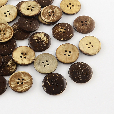 4-Hole Flat Round Coconut ButtonsBUTT-R035-010-1