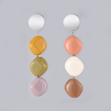 Acrylic Dangle Stud Earrings X-EJEW-JE03619-1