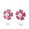 Brass Enamel Stud Earrings EJEW-K079-11-2