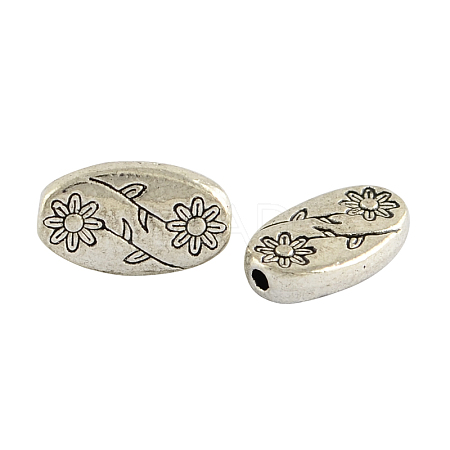Oval with Flower Tibetan Style Alloy Beads X-TIBEB-1199-AS-LF-1
