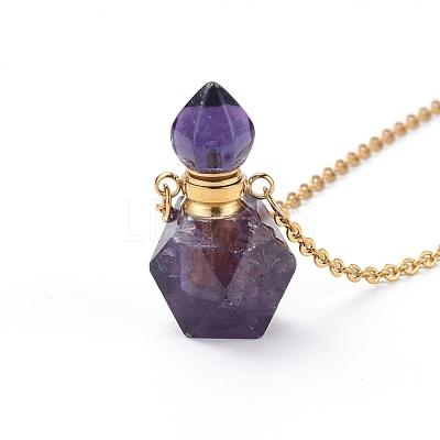 Natural Fluorite Openable Perfume Bottle Pendant NecklacesNJEW-E150-01B-G-1